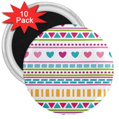 Geometry Line Shape Pattern 3  Magnets (10 Pack)