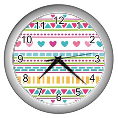 Geometry Line Shape Pattern Wall Clock (silver)