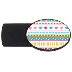 Geometry Line Shape Pattern Usb Flash Drive Oval (2 Gb)