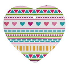 Geometry Line Shape Pattern Heart Ornament (two Sides)