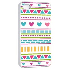 Geometry Line Shape Pattern Apple Iphone 4/4s Seamless Case (white)