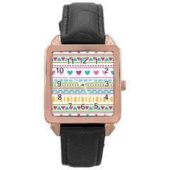 Geometry Line Shape Pattern Rose Gold Leather Watch