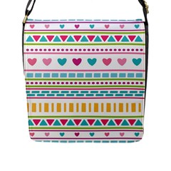 Geometry Line Shape Pattern Flap Closure Messenger Bag (l)