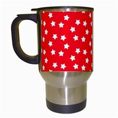 Christmas Pattern White Stars Red Travel Mugs (white) by Mariart