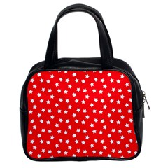 Christmas Pattern White Stars Red Classic Handbag (two Sides) by Mariart