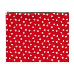 Christmas Pattern White Stars Red Cosmetic Bag (xl)