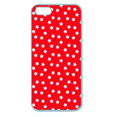 Christmas Pattern White Stars Red Apple Seamless Iphone 5 Case (color)