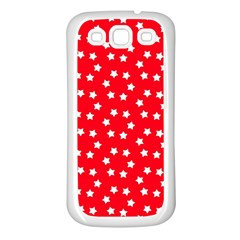 Christmas Pattern White Stars Red Samsung Galaxy S3 Back Case (white) by Mariart