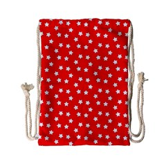 Christmas Pattern White Stars Red Drawstring Bag (small)