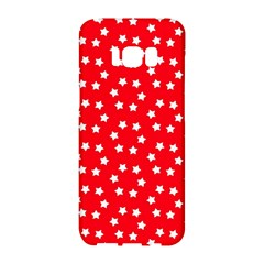 Christmas Pattern White Stars Red Samsung Galaxy S8 Hardshell Case  by Mariart