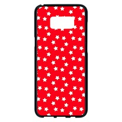 Christmas Pattern White Stars Red Samsung Galaxy S8 Plus Black Seamless Case