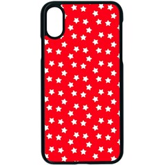 Christmas Pattern White Stars Red Apple Iphone X Seamless Case (black)