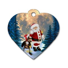 Merry Christmas, Santa Claus With Funny Cockroach In The Night Dog Tag Heart (one Side)