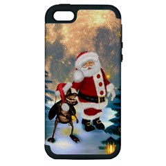 Merry Christmas, Santa Claus With Funny Cockroach In The Night Apple Iphone 5 Hardshell Case (pc+silicone) by FantasyWorld7