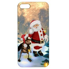 Merry Christmas, Santa Claus With Funny Cockroach In The Night Apple Iphone 5 Hardshell Case With Stand by FantasyWorld7