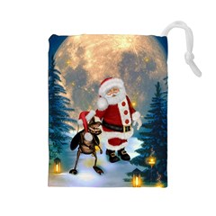 Merry Christmas, Santa Claus With Funny Cockroach In The Night Drawstring Pouch (large) by FantasyWorld7