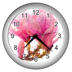 Wild Magnolia Flower Wall Clock (silver) by picsaspassion