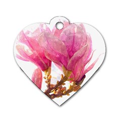 Wild Magnolia Flower Dog Tag Heart (one Side)