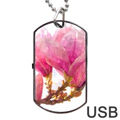 Wild Magnolia Flower Dog Tag Usb Flash (two Sides) by picsaspassion