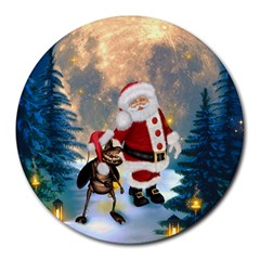 Merry Christmas, Santa Claus With Funny Cockroach In The Night Round Mousepads