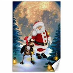 Merry Christmas, Santa Claus With Funny Cockroach In The Night Canvas 12  X 18