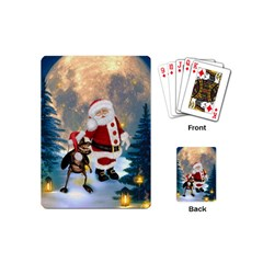 Merry Christmas, Santa Claus With Funny Cockroach In The Night Playing Cards (mini)