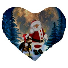Merry Christmas, Santa Claus With Funny Cockroach In The Night Large 19  Premium Flano Heart Shape Cushions by FantasyWorld7