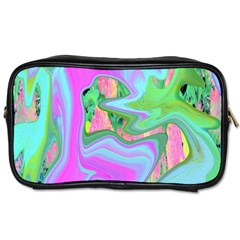Retro Pink And Light Blue Liquid Art On Hydrangea Garden Toiletries Bag (two Sides)