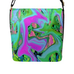 Retro Pink And Light Blue Liquid Art On Hydrangea Garden Flap Closure Messenger Bag (l)