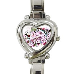 Watercolour Cherry Blossoms Heart Italian Charm Watch