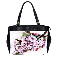 Watercolour Cherry Blossoms Oversize Office Handbag (2 Sides)