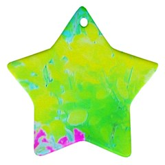 Fluorescent Yellow And Pink Abstract Garden Foliage Ornament (star)
