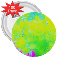 Fluorescent Yellow And Pink Abstract Garden Foliage 3  Buttons (100 Pack)