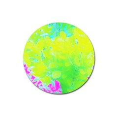 Fluorescent Yellow And Pink Abstract Garden Foliage Magnet 3  (round)