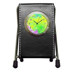 Fluorescent Yellow And Pink Abstract Garden Foliage Pen Holder Desk Clock