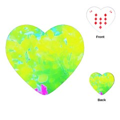 Fluorescent Yellow And Pink Abstract Garden Foliage Playing Cards (heart) by myrubiogarden