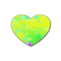 Fluorescent Yellow And Pink Abstract Garden Foliage Heart Coaster (4 Pack)  by myrubiogarden