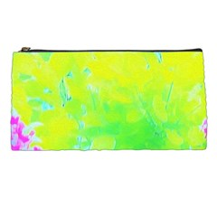 Fluorescent Yellow And Pink Abstract Garden Foliage Pencil Cases by myrubiogarden