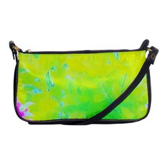 Fluorescent Yellow And Pink Abstract Garden Foliage Shoulder Clutch Bag by myrubiogarden