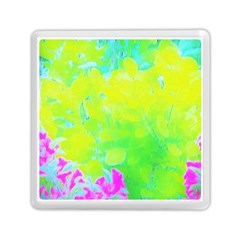 Fluorescent Yellow And Pink Abstract Garden Foliage Memory Card Reader (square)