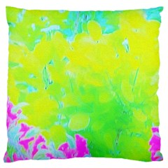 Fluorescent Yellow And Pink Abstract Garden Foliage Large Cushion Case (two Sides) by myrubiogarden