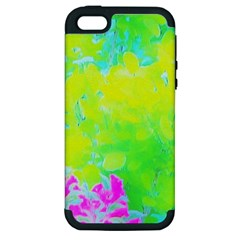 Fluorescent Yellow And Pink Abstract Garden Foliage Apple Iphone 5 Hardshell Case (pc+silicone) by myrubiogarden