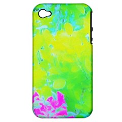 Fluorescent Yellow And Pink Abstract Garden Foliage Apple Iphone 4/4s Hardshell Case (pc+silicone)