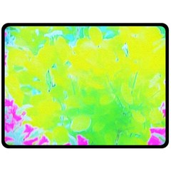 Fluorescent Yellow And Pink Abstract Garden Foliage Double Sided Fleece Blanket (large)