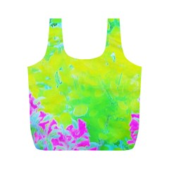 Fluorescent Yellow And Pink Abstract Garden Foliage Full Print Recycle Bag (m)