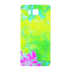 Fluorescent Yellow And Pink Abstract Garden Foliage Samsung Galaxy Alpha Hardshell Back Case by myrubiogarden