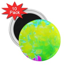Fluorescent Yellow And Pink Abstract Garden Foliage 2 25  Magnets (10 Pack)