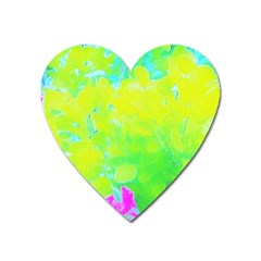 Fluorescent Yellow And Pink Abstract Garden Foliage Heart Magnet by myrubiogarden