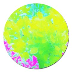 Fluorescent Yellow And Pink Abstract Garden Foliage Magnet 5  (round) by myrubiogarden