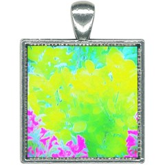 Fluorescent Yellow And Pink Abstract Garden Foliage Square Necklace